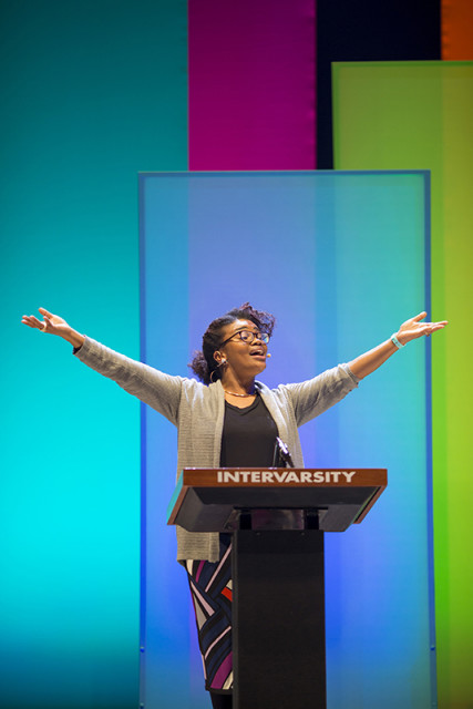 Michelle Higgins has been making waves lately. A leader in the #BlackLivesMatter movement, she recently addressed a gathering of 16,000 evangelical students at an InterVarsity conference in St. Louis, during which she urged them to back the movement. Photo courtesy of Urbana