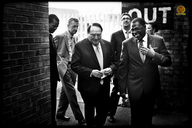 Morris Cerullo, center, pictured here with Pastor Andrew Adeleke, right.