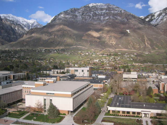 An aerial view of Brigham Young University in Provo, Utah.