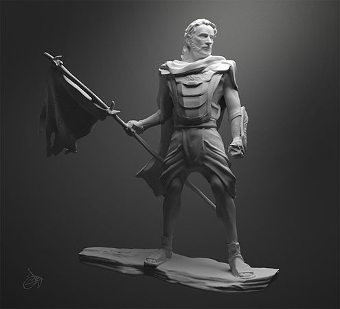 Captain Moroni, commander of the Nephite forces from approximately 74-56 BCE. Artist's interpretation. Digital ZSculpt by Josh Cotton.