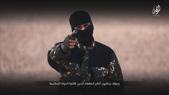 A masked man points a weapon as he speaks in this still image from a handout video obtained on January 4, 2016 from a social media website which has not been independently verified. Courtesy of Reuters