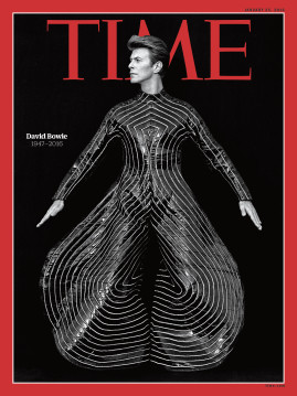 The cover of the current edition of Time magazine, which leads with a tribute to the late David Bowie.