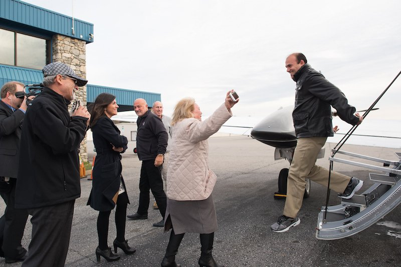 Pastor Saeed Abedini steps off a private jet in Asheville, N.C., Thursday (Jan. 21), and is greeted by his mother and sister. Abedini was jailed for three years in Iran. He will spend time resting at the Billy Graham Training Center. Photo courtesy Samaritan's Purse