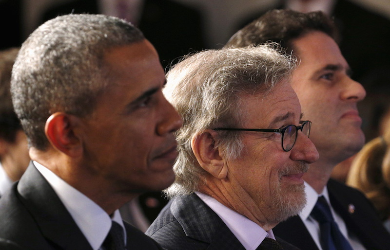 U.S. President Barack Obama, seated beside Steven Spielberg and Israeli Ambassador to the U.S. Ron Dermer listen to remarks at the Righteous Among the Nations Award Ceremony, organized for the first time in the U.S. by Yad Vashem, at the Embassy of Israel in Washington January 27, 2016. Photo courtesy REUTERS/Kevin Lamarque