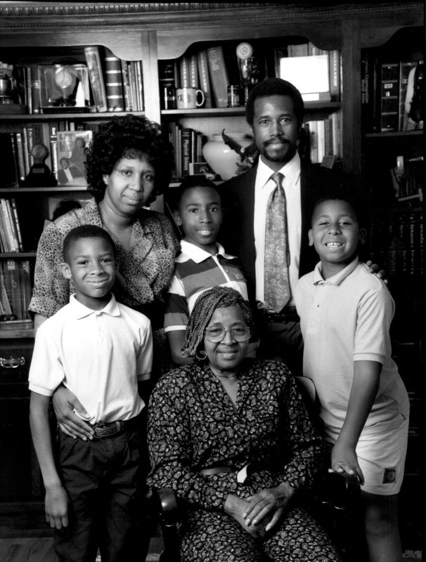 Candy Carson, upper left and Ben Carson, upper right, with their sons, Murray, BJ and Rhoeyce and Sonya Carson, Ben Carson's mother, seated. Photo courtesy of the Carson family