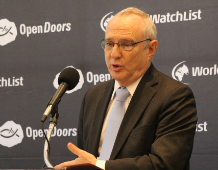 David Saperstein, U.S. ambassador-at-large for international religious freedom, speaks at news conference announcing Open Doors' annual World Watch List on Jan. 13, 2016 in Washington. Religion News Service photo by Adelle M. Banks