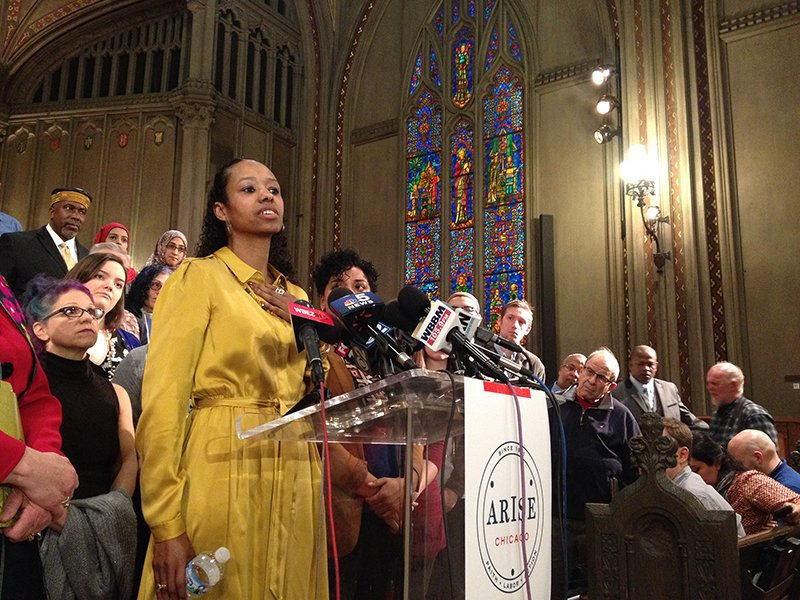 Larycia Hawkins speaks on Jan. 6, 2016, at First United Methodist Church in Chicago. Religion News Service photo by Emily McFarlan Miller