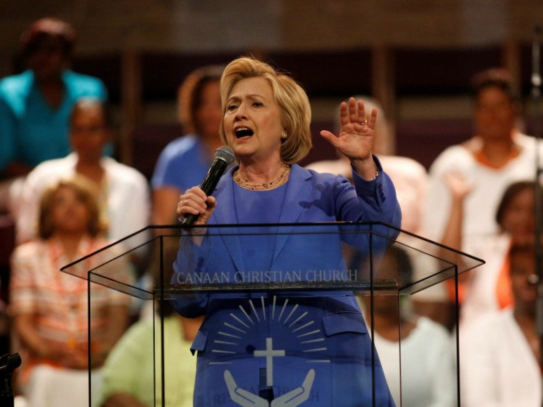 Former Secretary of State Hillary Clinton, a lifelong Methodist, speaks at a church on May 15, 2016, during her presidential campaign. Photo courtesy of Reuters
