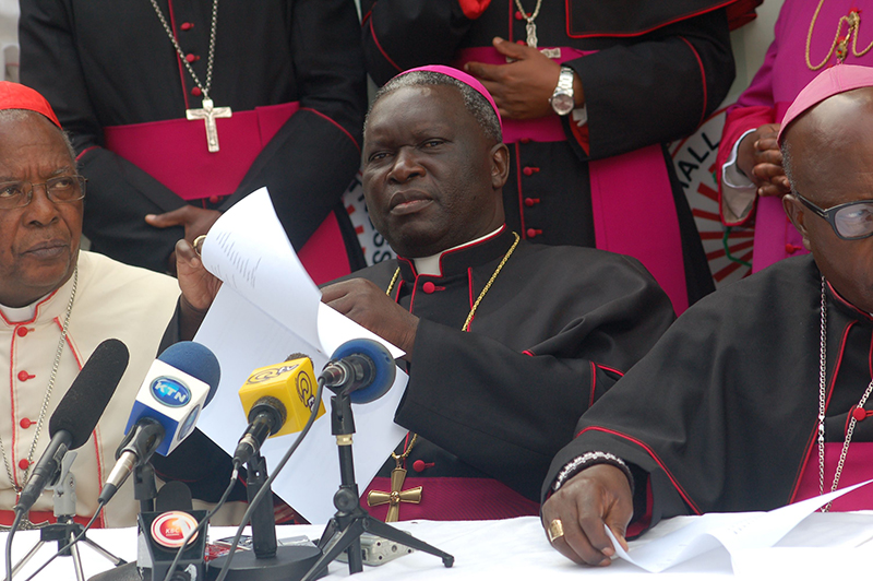 Bishop Philip Anyolo addresses the media during a recent news conference in Nairobi. Religion News Service photo by Fredrick Nzwili