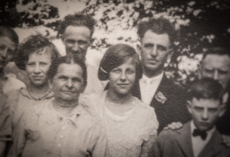 Anna Kurzweil, center, at age 14 in a family photograph. Religion News Service photo by Sally Morrow