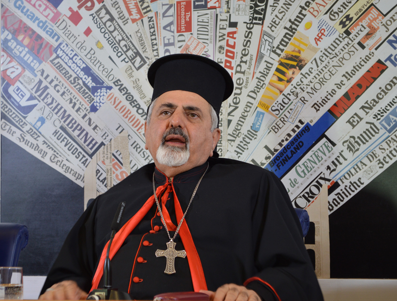 """This is our culture. If you don't want to see it, close your eyes!"" Patriarch Youssef told journalists in Rome on Jan. 28, 2016. Religion News Service photo by Rosie Scammell"