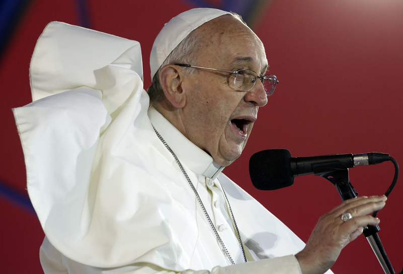 Pope Francis delivers a speech during the Catholic Church's World Day of Youth at Copacabana beach in Rio de Janeiro, on July 25, 2013. Pope Francis is on the fourth day of his week-long visit for World Youth Day. Photo courtesy of REUTERS/Stefano Rellandini *Editors: This photo may only be republished with RNS-POPE-INDULGENCES, originally transmitted on Jan. 15, 2015.