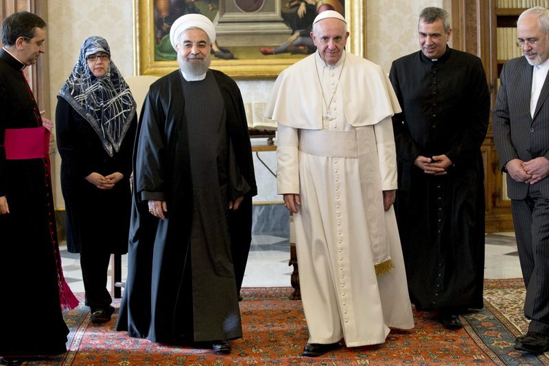 Iran President Hassan Rouhani walks with Pope Francis at the Vatican on January 26, 2016. Photo courtesy of REUTERS/Andrew Medichini/Pool *Editors: This photo may only be republished with RNS-POPE-ROUHANI, originally transmiteed on Jan. 26, 2016.