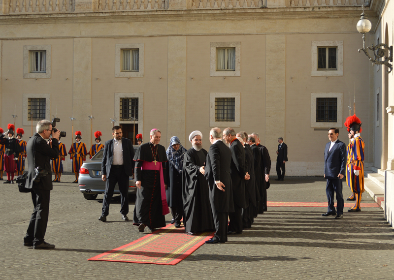 Iran's president, Hassan Rouhani, center, arrives at the Vatican for his meeting with Pope Francis on Jan 26, 2016. Religion News Service photo by Rosie Scammell