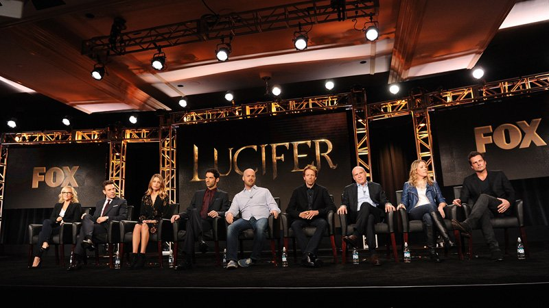 Left to right, cast members Rachael Harris, Kevin Alejandro, Lauren German, Tom Ellis, Executive Producers Joe Henderson, Jerry Bruckheimer, Jonathan Littman, Ildy Modrovich and Executive Producer/Director Len Wiseman during the 'Lucifer' panel at the Langham Hotel, Friday, on Jan. 15 in Pasadena, Calif. Photo by Frank Micelotta, courtesy of FOX