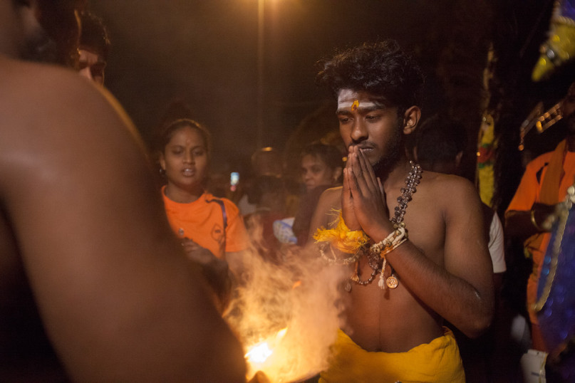 Daanish is being blessed by a Hindu priest before beginning his Thaipusam pilgrimage in Kuala Lumpur, Malaysia on Jan 24, 2016. Religion News Service photo by Alexandra Radu