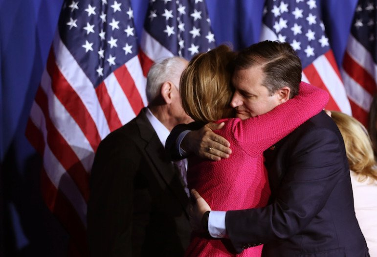 Republican U.S. presidential candidate Ted Cruz hugs running-mate Carly Fiorina just before announcing that he is suspending his campaign for president at a campaign event during Indiana primary night in Indianapolis, Indiana, U.S., May 3, 2016.      REUTERS/Chris Bergin -