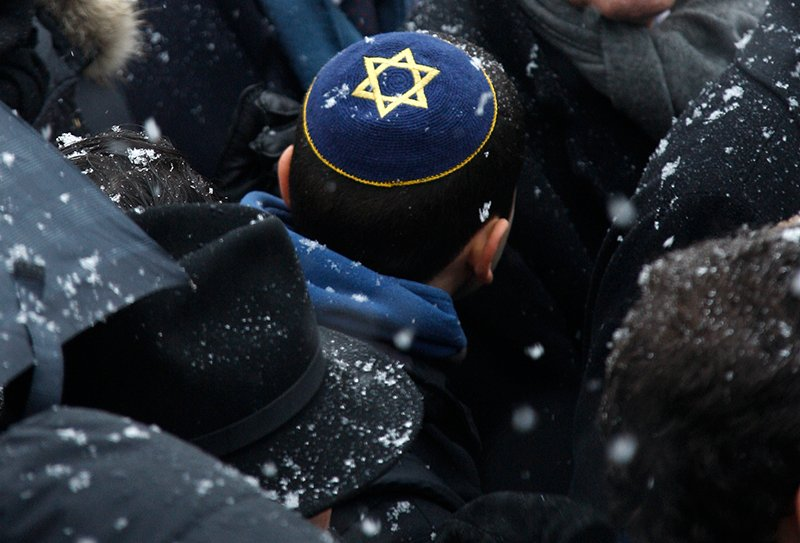 A man wearing a skullcap is seen during a demonstration called by the Representative Council of Jewish Institutions in France (CRIF) in front of the European Parliament in Strasbourg on January 14, 2009. Photo courtesy of REUTERS/Vincent Kessler *Editors: This photo may only be republished with RNS-YARMULKE-FRANCE, originally transmitted on Jan. 13, 2016.