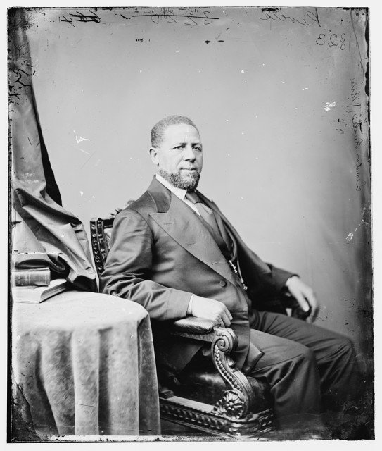 Sen. Hiram Revels, who led African Methodist Episcopal and Methodist churches, was installed in the Senate on Feb. 25, 1870 as the first black member of Congress. Courtesy of the Library of Congress.