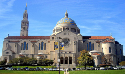 The Basilica of the National Shrine of the Immaculate Conception located on The Catholic University of America campus in Washington, D.C.