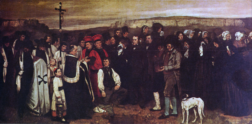 A Burial At Ornans is a mid-19th century painting Gustave Courbet. PD-Art.