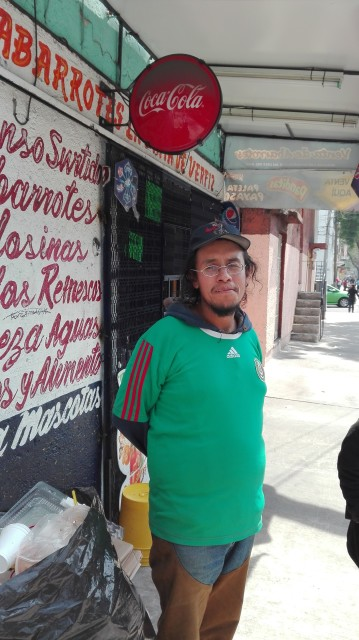 Street trader Guillermo Romero, 28, outside his home in Colonia Doctores, Mexico City, February 14, 2016. He says that security presence ahead of the Pope's visit to Federico Gomez Hospital has prevented him from earning his weekly wage of $40 from selling cardboard and recyclable trash. RNS photo by Tim MacGabhann.