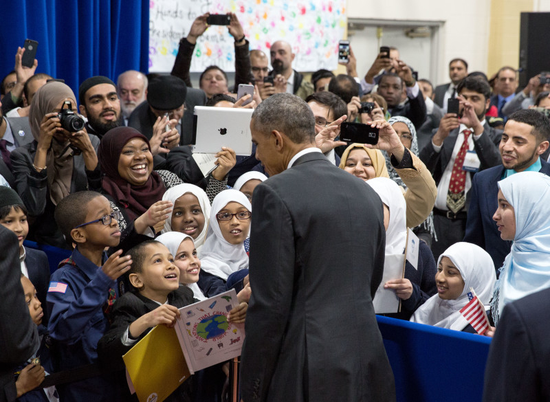 President Barack Obama greets students and guests along the rope line following remarks to students the gymnasium at the Islamic Society of Baltimore mosque in Baltimore, Md., Feb. 3, 2016. Photo courtesy of the White House/Amanda Lucidon.
