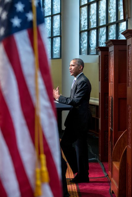 President Barack Obama delivers remarks at the Islamic Society of Baltimore mosque in Baltimore, Md., Feb. 3, 2016. Photo courtesy of the White House/Pete Souza.