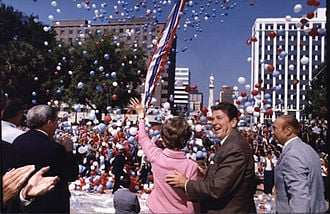 Ronald Reagan campaigns with his wife Nancy and Senator Strom Thurmond (right) in South Carolina, 1980