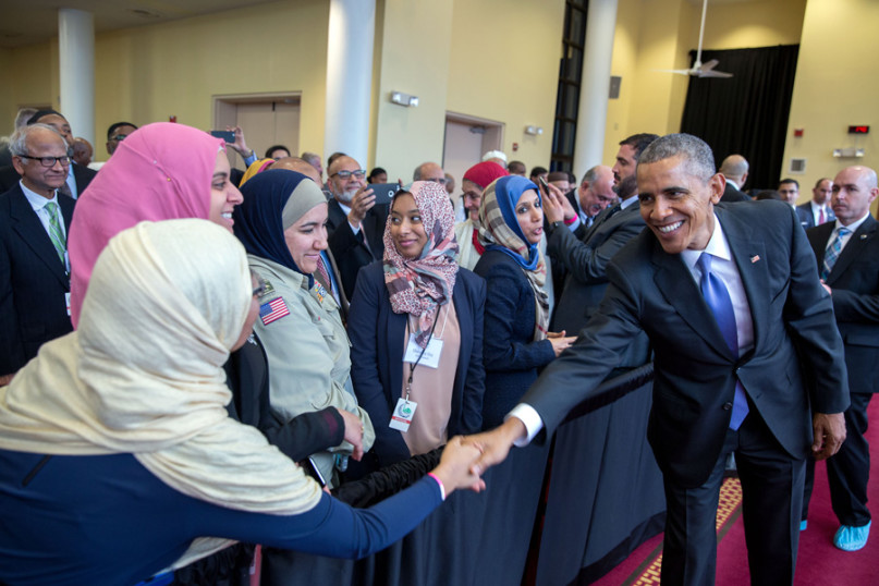 President Barack Obama greets members of the audience after he delivers remarks at the Islamic Society of Baltimore mosque and Al-Rahmah School in Baltimore, Maryland, Feb. 3, 2016. Photo courtesy of the White House/Pete Souza.