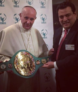 Pope Francis and Mauricio Sulaiman Saldivar, president of the World Boxing Council, at the Vatican on Feb. 3. Via the WBC website: http://wbcboxing.com/wbceng/news/6116-pope-francis-champion-of-faith