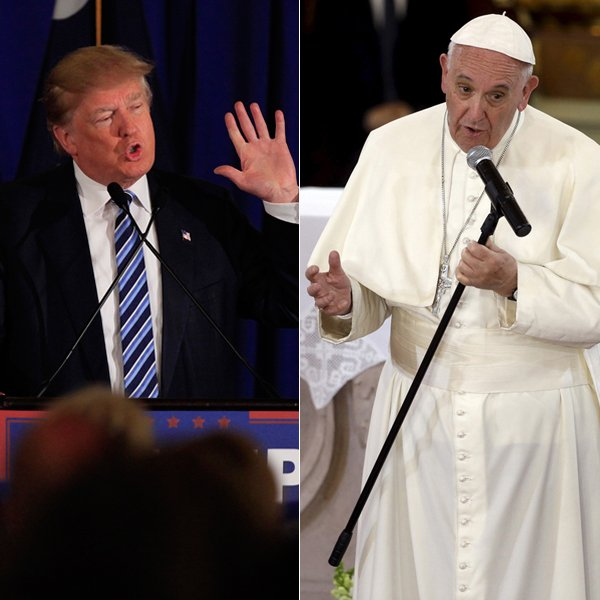 (Left) U.S. Republican presidential candidate Donald Trump speaks to voters at a rally at the Turtle Point Golf Club in Kiawah Island, South Carolina, on February 18, 2016. Photo courtesy of REUTERS/Randall Hill (Right) Pope Francis talks to the faithful inside the Cathedral in Morelia, Mexico, on February 16, 2016. Photo courtesy of REUTERS/Gregorio Borgia/Pool