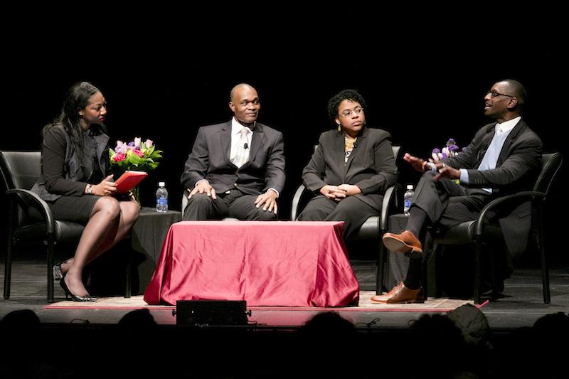 From left to right, Eboni Marshall Turman, Chris Vaughn, Jennifer Pinckney and Kylon Middleton speak at a forum on gun violence and race at Duke University on Feb. 9, 2016. Photo courtesy Less Todd/Duke Photography