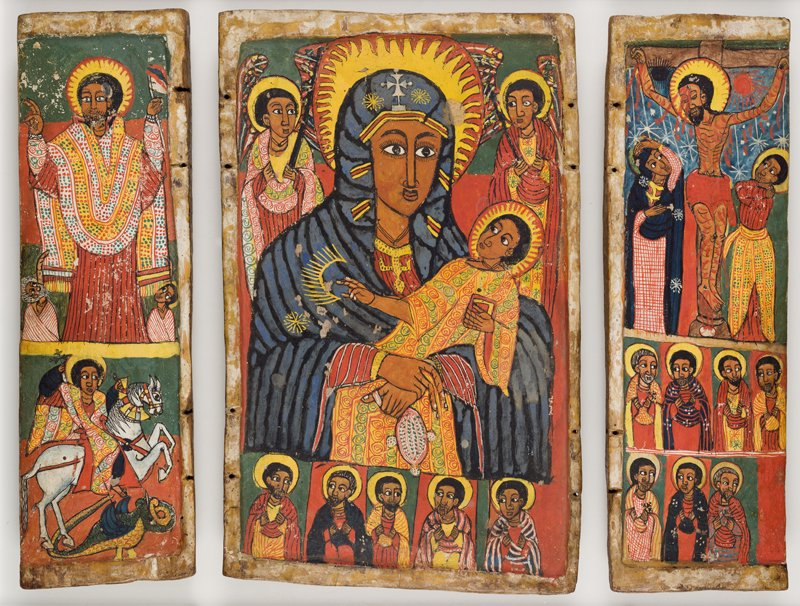 Triptych of the Virgin and Child, Ethiopia, 17th century, Tempera on gesso-covered wooden boards. This item will be on display at the Museum of the Bible. Photo courtesy of Museum of the Bible