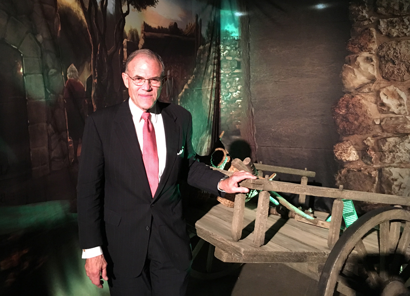 Museum of the Bible President Cary Summers, who shook hands and held meetings in a VIP room away from the exhibit floor, said the collection was acquired by Hobby Lobby and donated to the museum. Religion News Service photo by Wendy Gustofson