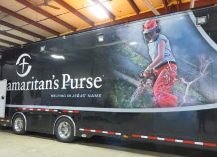 Samaritan's Purse, the relief agency headed by Rev. Franklin Graham, deploys massive truckloads of equipment and supplies to natural disasters. Religion News Service photo by Cathy Grossman