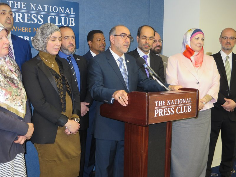 Oussama Jammal, center, at microphone, secretary general of the U.S. Council of Muslim Organizations, announces a new coalition of Muslim groups from the U.S. and other Western nations at the National Press Club in Washington, D.C. on Jan. 4, 2016. Religion News Service photo by Aysha Khan