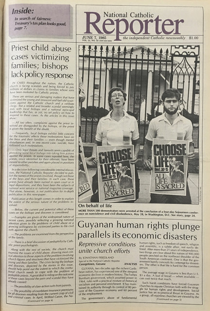 The June 7, 1985 cover of National Catholic Reporter. Photo courtesy of National Catholic Reporter