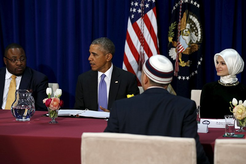 Muslim American community leaders sit for a roundtable discussion with U.S. President Barack Obama at the Islamic Society of Baltimore mosque in Catonsville, Maryland on February 3, 2016. Photo courtesy of REUTERS/Jonathan Ernst *Editors: This photo may only be republished with RNS-OBAMA-MOSQUE, originally transmitted on Feb. 3, 2016.