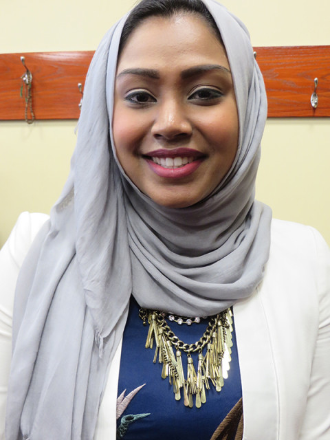 Business woman Sarah Khan, who attended President Obama's speech at the Islamic Society of Baltimore on Wednesday Jan. 3, 2016. Religion News Service photo by Lauren Markoe