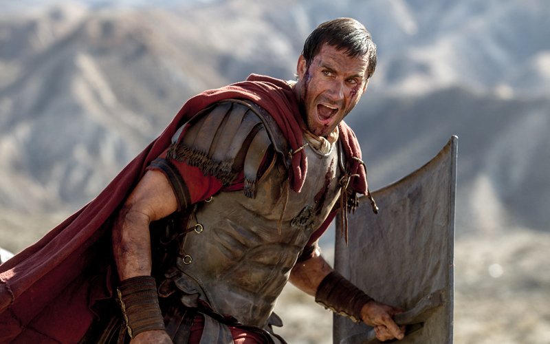 Clavius (Joseph Fiennes) leads his Roman soldiers during the zealot battle in Columbia Pictures' RISEN. Photo courtesy of Columbia Pictures