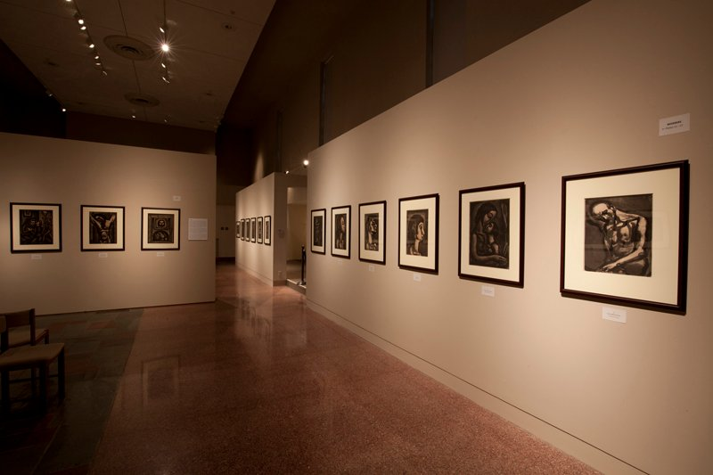 Georges Rouault: Miserere et Guerre, installation at Museum of Contemporary Religious Art (MOCRA), at Saint Louis University, 2016. Photo by Jeffrey Vaughn, courtesy of MOCRA