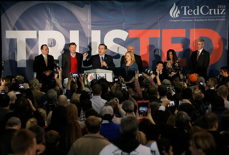U.S. Republican presidential candidate Ted Cruz speaks, with his wife Heidi Cruz by his side, after winning at his Iowa caucus night rally in Des Moines, Iowa, on February 1, 2016. Photo courtesy of REUTERS/Jim Young *Editors: This photo may only be republished with RNS-SILK-COLUMN, originally transmitted on Feb. 2, 2016.