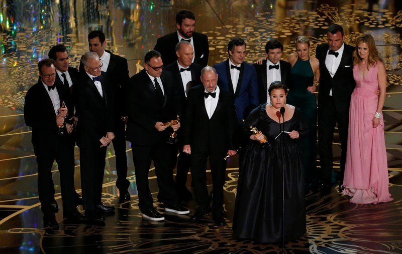 "Producer Nicole Rocklin accepts the Oscar for Best Picture for the film ""Spotlight"" as she is accompanied by other producers and cast members at the 88th Academy Awards in Hollywood, California on February 28, 2016. Photo courtesy of REUTERS/Mario Anzuoni"