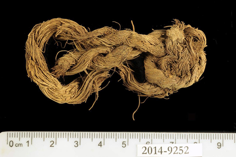 Rope made of the fibers of a date palm tree found at Site 34. Photo by Clara Amit, courtesy of the Israel Antiquitites Authority