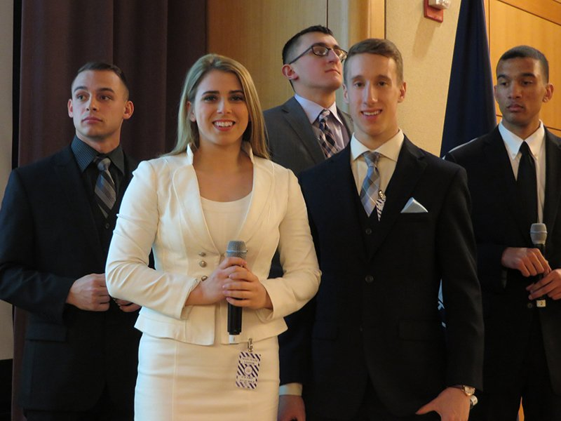 The five cadets who presented West Point's project, from left to right, Cadet Austin Montgomery, Cadet Brittany Scofield, Cadet C.J. Drew, Cadet Jordan Isham, and Cadet David Weinmann. Religion News Service photo by Lauren Markoe