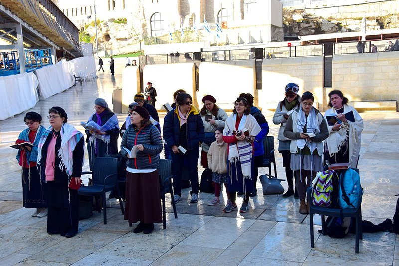 Members of the Original Women of the Wall say morning prayers at the Western Wall in Jerusalem on Feb. 3, 2016. Photo courtesy of Shmuel Browns