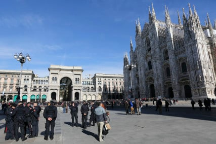 Italian Carabinieri officers stand at the Duomo's square downtown Milan, Italy, on February 21, 2016. Photo courtesy of REUTERS/Stefano Rellandini *Editors: This photo may only be republished with RNS-MILAN-MOSQUE, originally transmitted on Feb. 25, 2016.