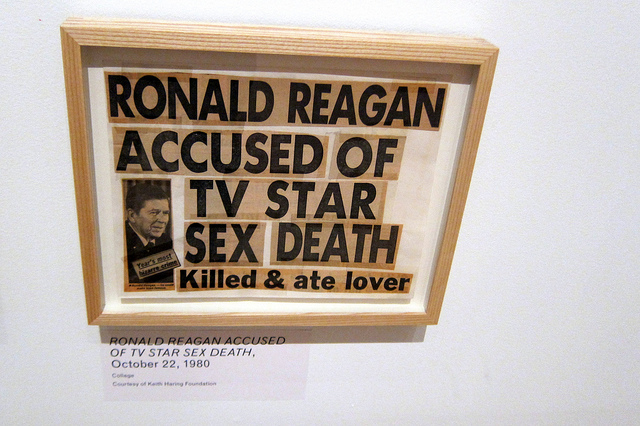 """""""Ronald Reagan Accused of TV Star Sex Death""""   Collage by Keith Haring   Image by Wally Gobetz via Flickr (http://bit.ly/226Mj4X)"""