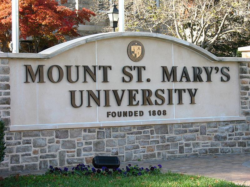 The entrance sign to Mount St. Mary's University in Maryland, United States. Photo courtesy of Wikimedia Commons/Guoguo12.